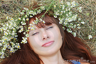 Girl in flower garland