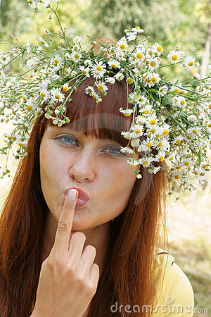 Girl in flower garland