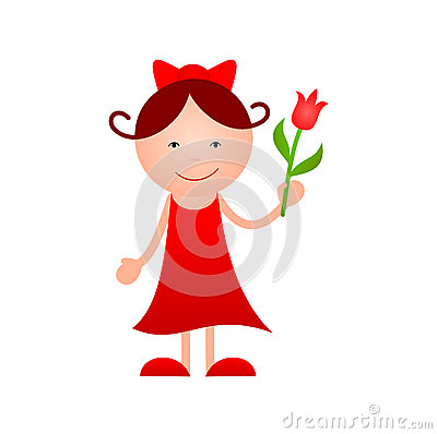 Girl with flower in hand