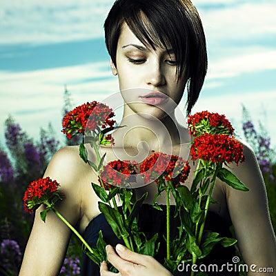Girl in flower meadow