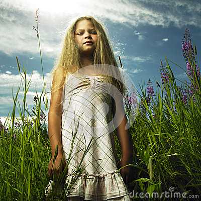 Girl in flower meadow