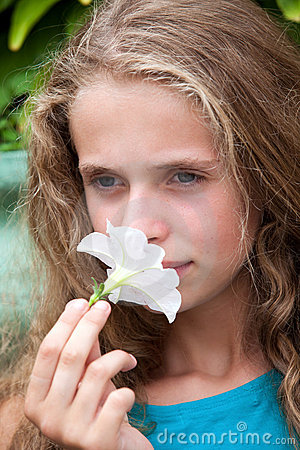 Girl flower sensuality portrait outdoor