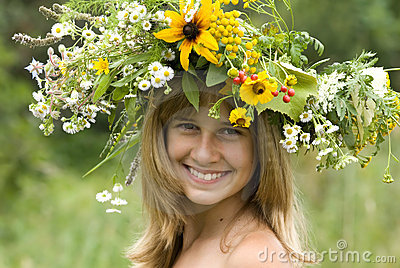Girl with flower wreath