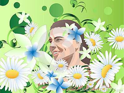 Girl among the flowers
