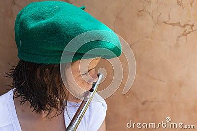 Girl Flute Music Play