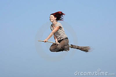 Girl, flying,