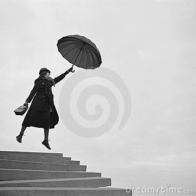 Free Girl Flying Away On Umbrella Royalty Free Stock Photography - 12473507