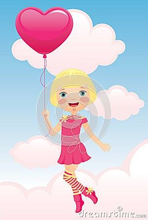 Girl flying a balloon