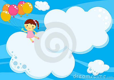 Girl flying with balloons among clouds