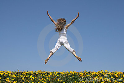 Girl flying in a funny jump