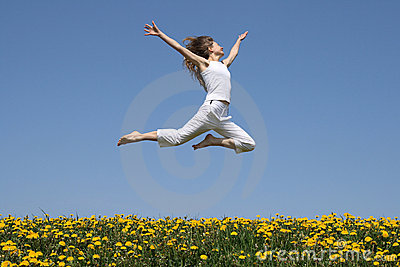Girl flying in a jump