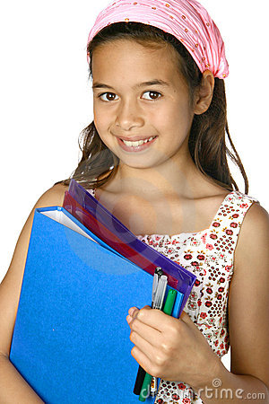 girl with folders, ready for school.