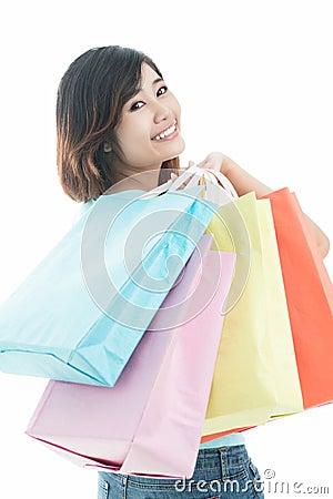 Girl fond of shopping