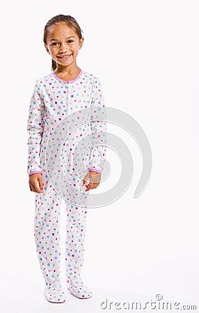 Girl in footie pajamas