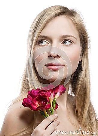 Girl with freesia