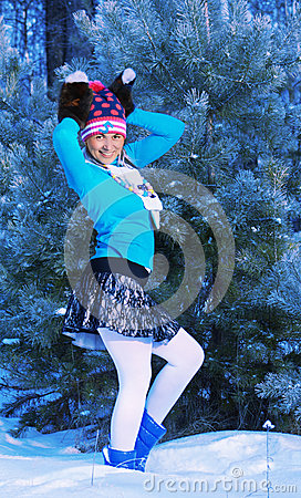 Girl in freeze forest