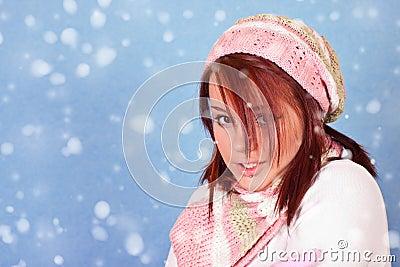 Girl freezing on snow