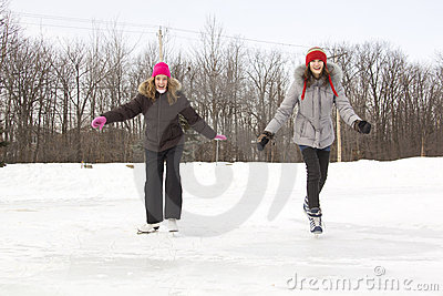 Girl friends skating