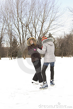 Girl friends skating