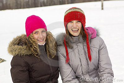 Girl friends in winter
