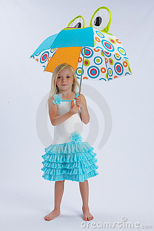 Girl with frog umbrella