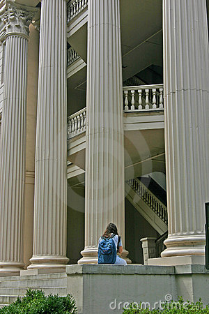 Girl in Front of Columns