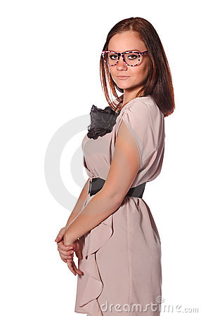 Girl with funny pink eyeglasses