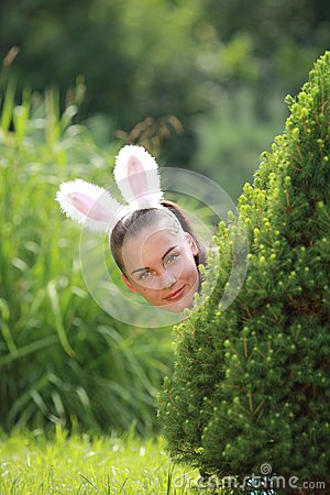 Girl with funny rabbit ears