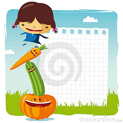 Girl with funny vegetable