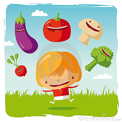 Girl with funny vegetables