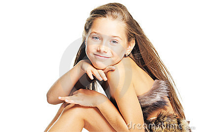 Girl in the fur as a prehistoric