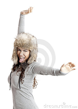 Girl with a fur hat
