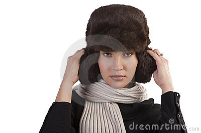 Girl with fur hat and with scarf