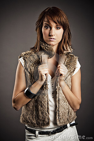 Girl in fur vest