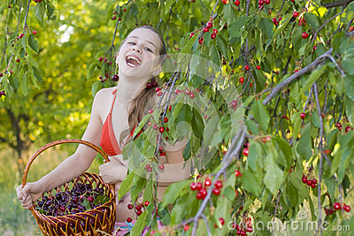 Girl in garden with a sweet cherry basket
