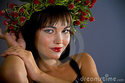 Girl with garland