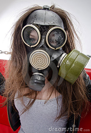 The girl in a gas mask.