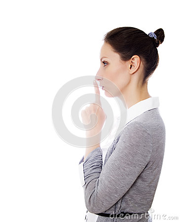 Girl gesture silence isolated white copy space