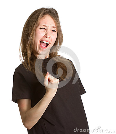 Girl gesture success isolated copy space