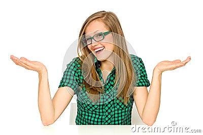 Girl gesturing