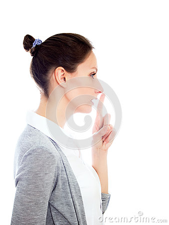 Girl gesturing secret isolated white copy space