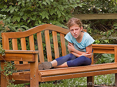 Girl Getting Angry on Park Bench