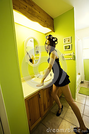 Girl Getting Ready To Go Out For The Night Royalty Free