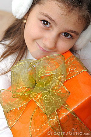 Girl with gift box