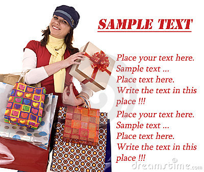 Girl with gift box and bag.Template.