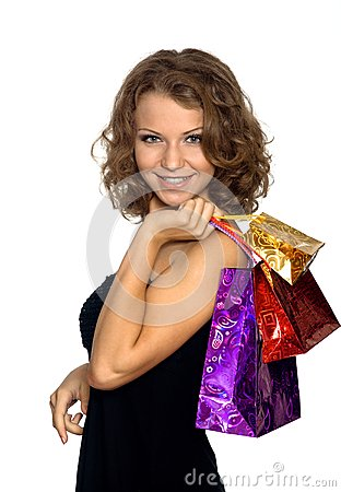 The girl with gift packages