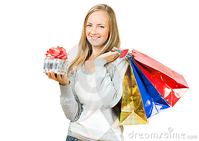 A girl with a gift and packages