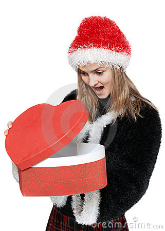 Girl with gift red box