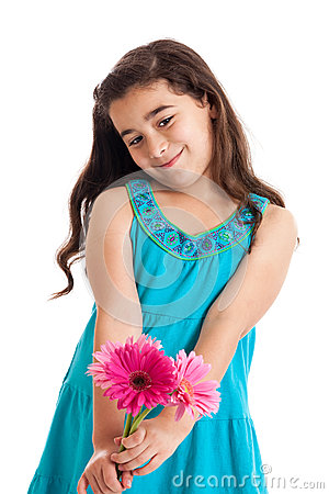 Girl giving flowers