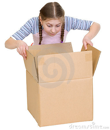 Girl glance at cardboard box